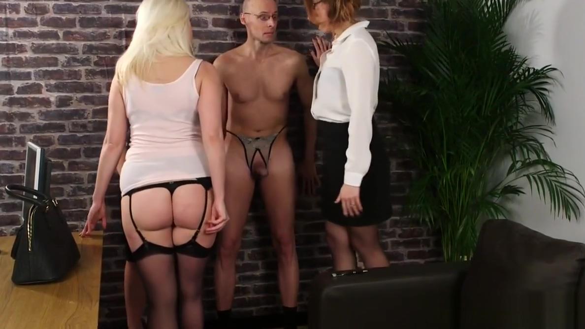 Femdom trio humiliates naked submissive