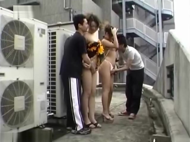 Group sex outdoor banged