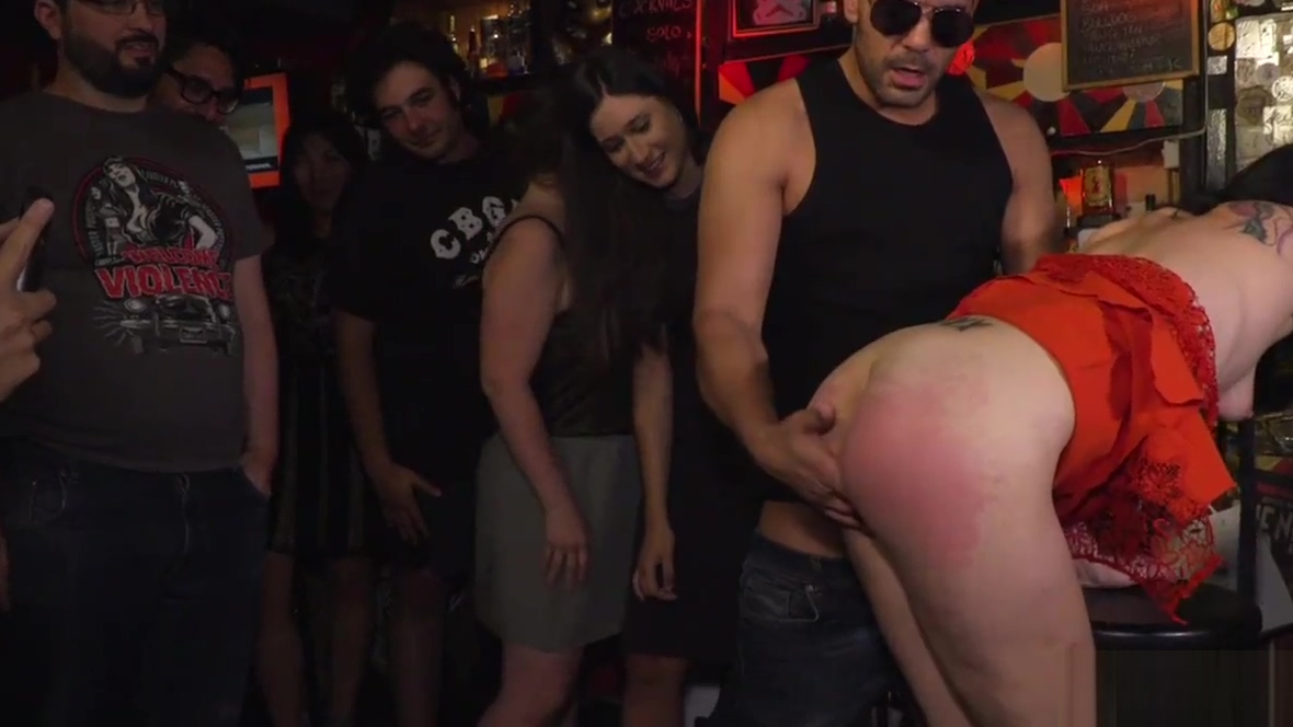 Brunette ass caned and spanked in public