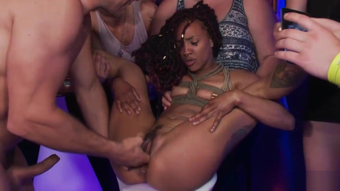 Ebony slave group fucked in public club