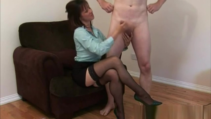 Horny babe tugs cock until she gets herself a cumshot