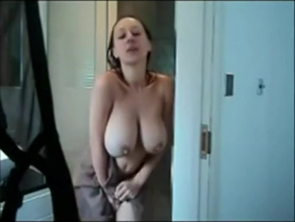 Extremely busty girl caught fresh from the shower