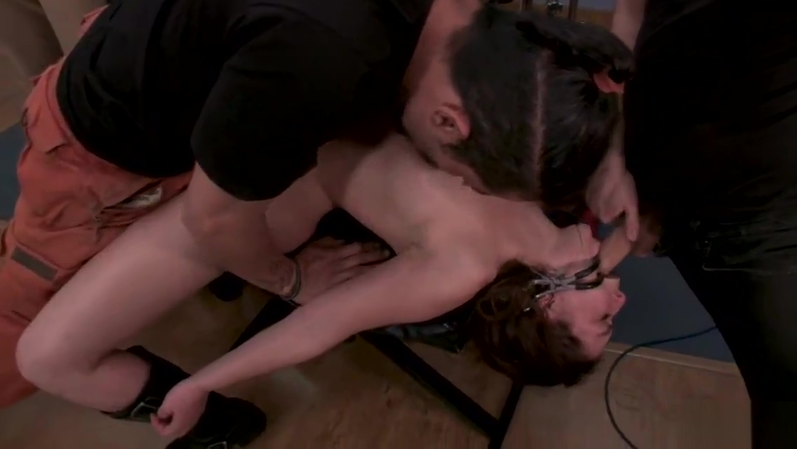 Brunette group tormented in music studio