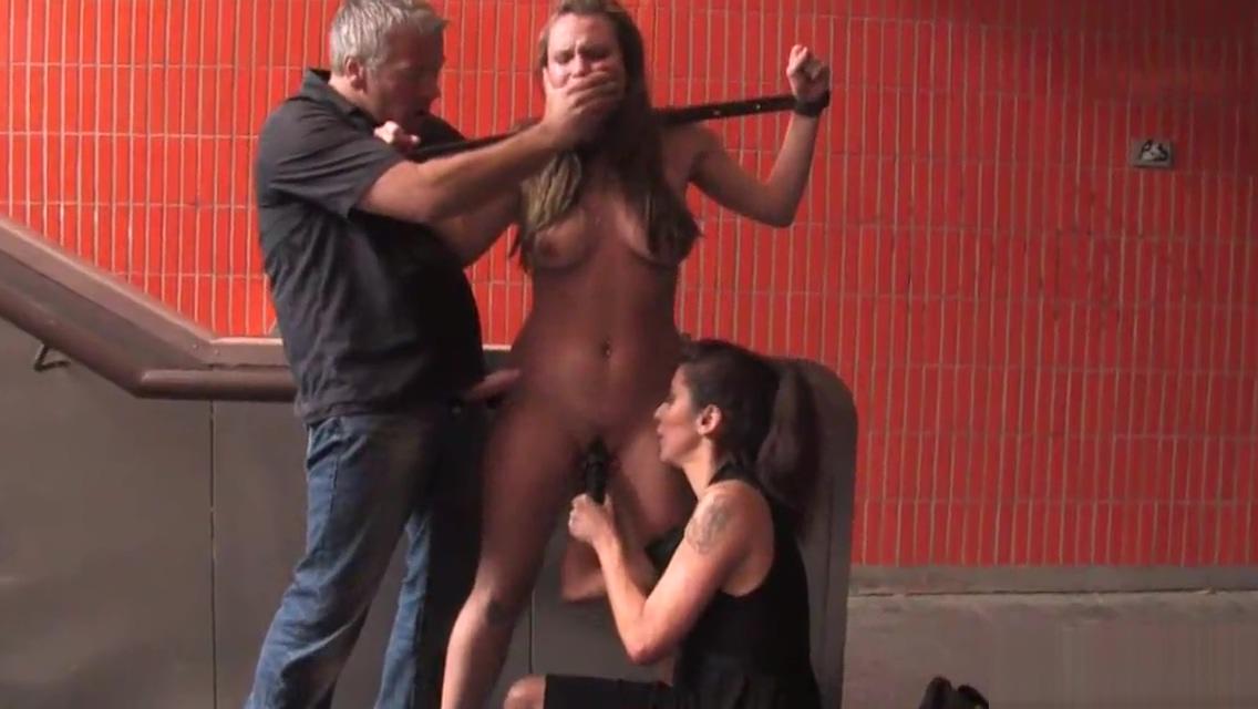 Busty brunette slave fucking in underpass