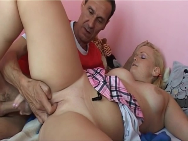 Cute Pigtailed Blonde Sucks And Fucks Older Dude