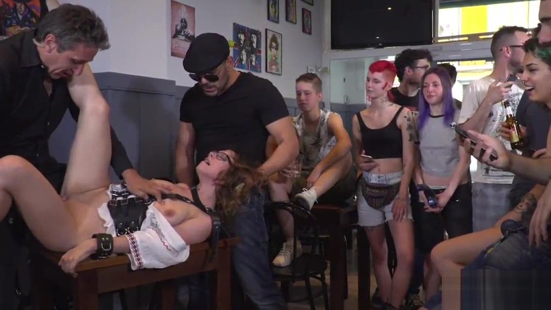 Euro babe fucked in public bar