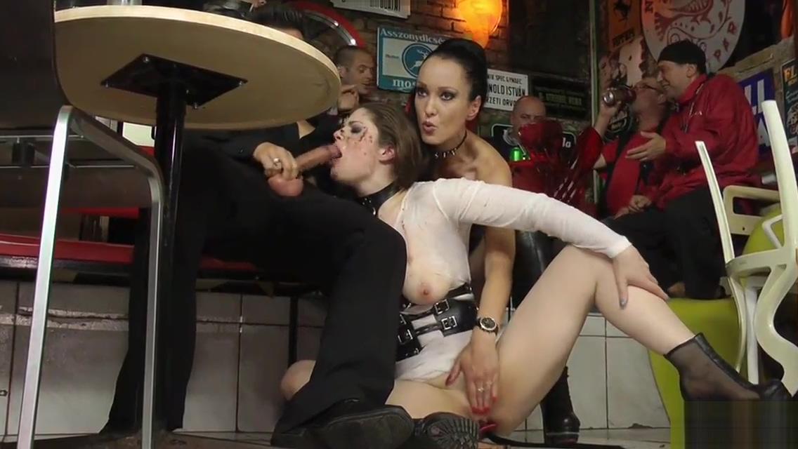 Busty slut disgraced in the rain