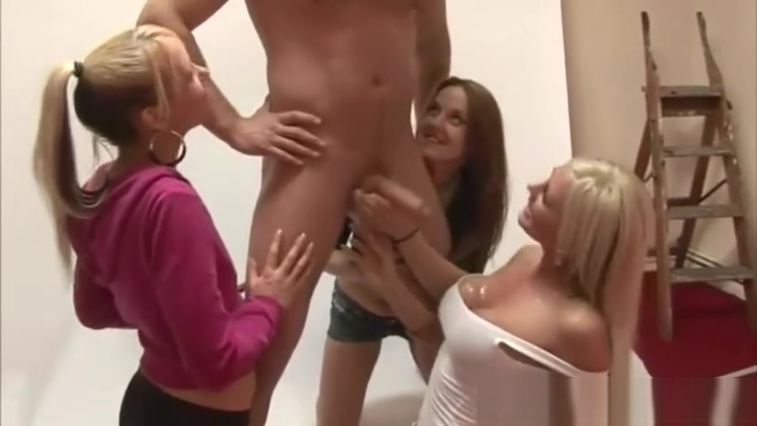 On set tug from the horny cfnm crew members till he cums