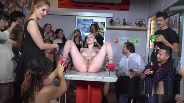 Shaved head slave disgraced in public