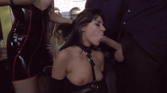 Teen slave sucks huge dick in public bar