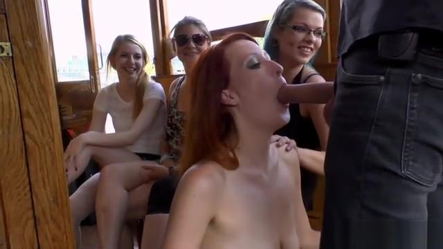 Redhead slut gets facials on a boat