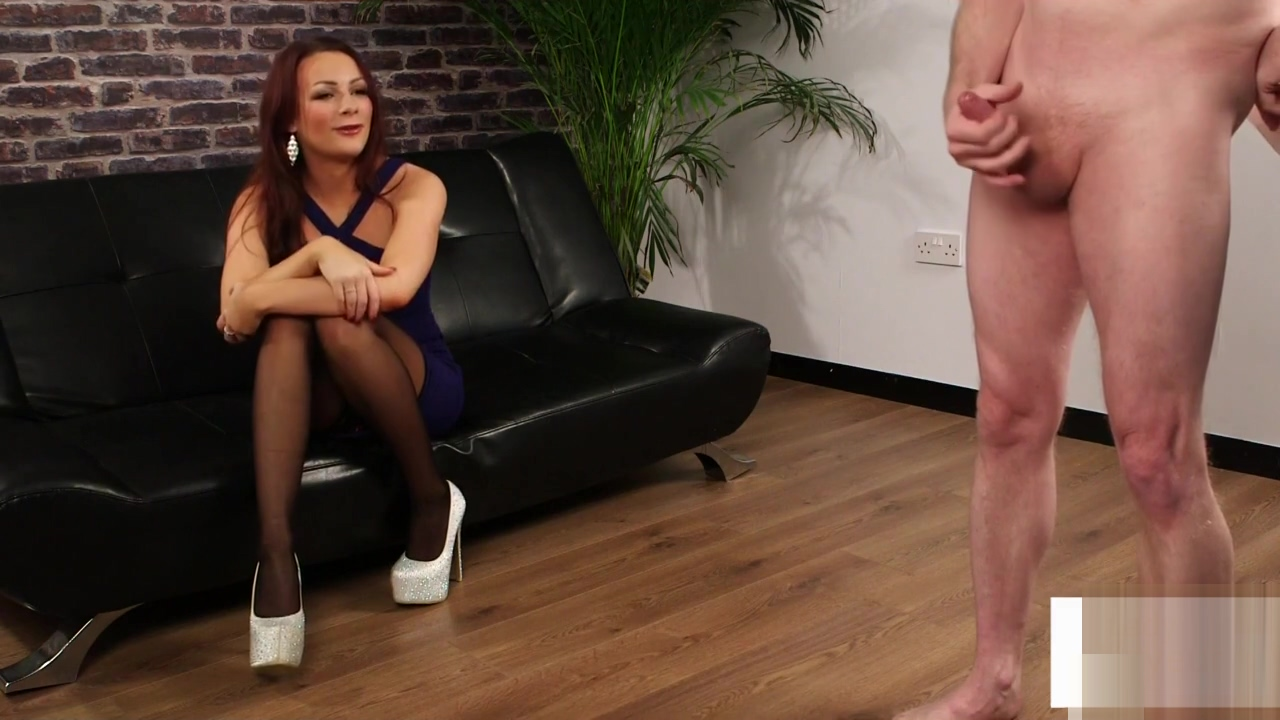 Glam british voyeur teases while guy wanks
