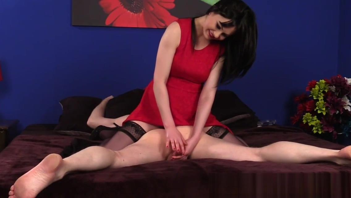 Stockinged british babe wanking oiled dick
