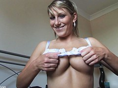 Adorable girl teases with her tits down blouse style