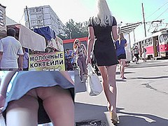 Hot blonde upskirt filmed in public this sunny day
