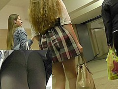 Slender girlfriends in the amateur public upskirt clip