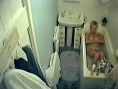 Amateur mature spied masturbating in the full bath