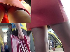 Woman in strict and sexy outfit gets upskirted