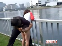 Man sharks girls skirt up and spreads butt cheeks