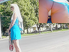 Public upskirt in the fresh air of the blonde female