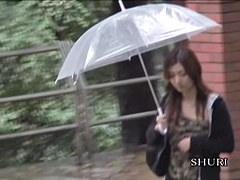 Vixenish brown-haired Japanese tart getting exposed by handy stranger