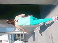 blue Spandex legging ass