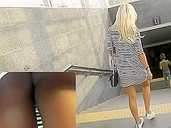 Attractive ass in upskirt thong movie by hot chick