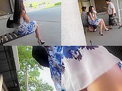 Skirt looks hot on skinny ass in accidental upskirt