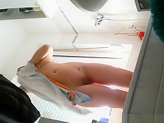 Girlfriend with shaved pussy and small tattoo