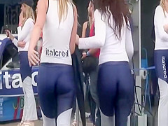 Racing track hot chicks cameltoes