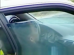 Amateur couple in car