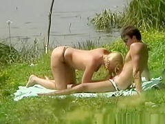 River shore couple fucking