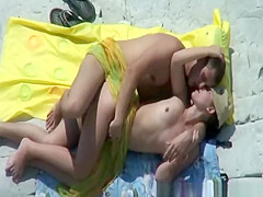 Pussy eating and sex on rocky beach