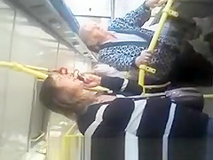 Downblouse cute girl in bus