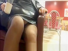 Chubby exhibitionist woman in stockings