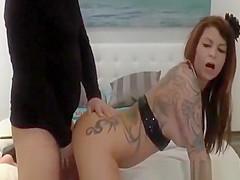 Tattooed bitch fucked on webcam