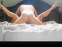 Hairy pussy wife riding cock in bed