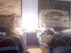 Hot blonde girlfriend threesome in hotel bedroom