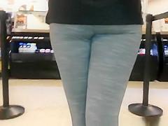 Nice ass girl in dark gray leggings