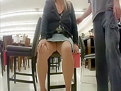 Wife upksirt and pussy flash