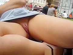Exhibitionist shaved poerced pussy