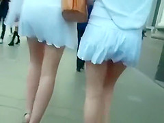 Two lesbian sexy asses upskirted