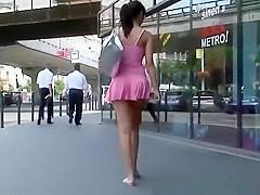 Sexy brunette chick short pink dress