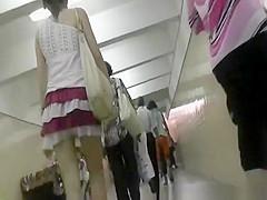 Sexy legs and ass under short skirt