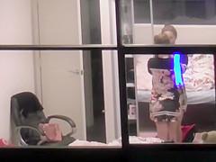 Asian teen spied through the window