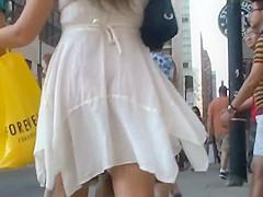 Skirt incident on the street
