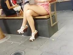 Peeping under this photogenic girl's skirt