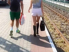 Stalker liked her ass in small shorts