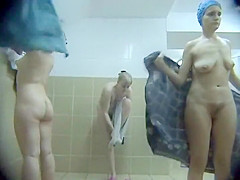 Women showering and wiping off