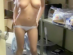 Coworker changing in the storage room